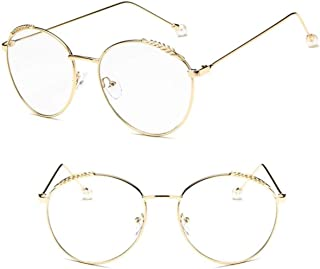Comfortable Retro Round Frame Glasses Frame Pearl Can Be Equipped with Myopia Optical Anti-Blue Light Female Eyes Beautiful (Color : Golden, Size : +3.0)