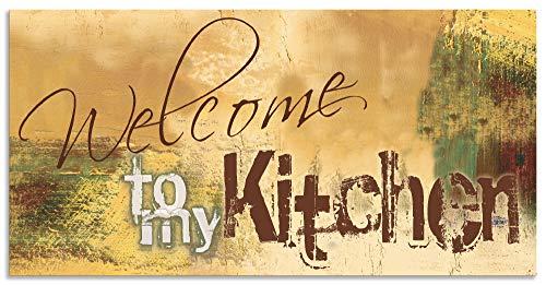 Artland Spritzschutz Küche aus Alu für Herd Spüle 100x50 cm Küchenrückwand mit Motiv Spruch Shabby Landhaus Kunst Willkommen Ocker H6ZJ
