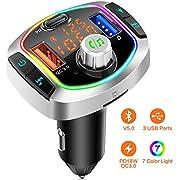 Bluetooth 5.0 FM Transmitter Auto Radio Adapter, 3 Ports PD 18W& QC 3.0 Schnellladung Ladegerät, Freisprecheinrichtung KFZ MP3 Player Kit Unterstützt USB-Stick 64GB TF Karte, Siri, 8 LED Farblicht