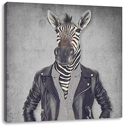 Pixxprint Zebrakopf Menschenkörper mit Lederjacke B&W Detail als Leinwandbild Quadratisch/Größe: 40x40 cm/Wandbild/Kunstdruck/fertig bespannt