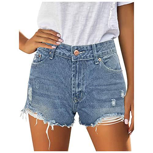EUCoo Pantalones cortos de mezclilla para mujer, pantalones cortos de cintura alta para mujer, estilo casual, lavado deshilachado, dobladillo rasgado, con agujero rasgado
