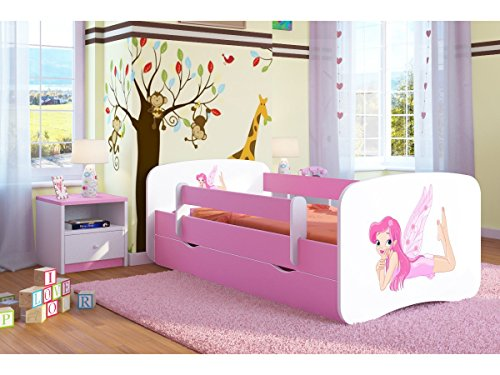 Bjird Kinderbett Jugendbett 70x140 80x160 80x180 Rosa mit Rausfallschutz Matratze Schublade und Lattenrost Kinderbetten für Mädchen - Fee mit Flügeln 140 cm