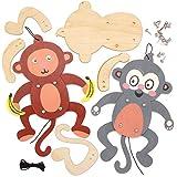 Baker Ross Kits de Marioneta de Madera Monos Sonrientes AT770 (paquete de 4) para proyectos de arte y manualidades para niños, surtidos