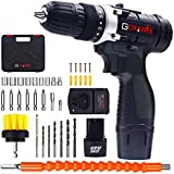 Cordless Drill with 2 Batteries - GOXAWEE Electric Screw Driver Set 100pcs (Max Torque 30Nm, 2-Speed, 10mm Automatic Chuck) for Home Improvement & DIY Project