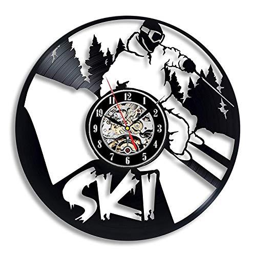 xcvbxcvb Ski Schnee Wanduhr modernes Design Retro Vinyl Schallplatte Wanduhr Skifurnier hängende Uhr Wohnkultur 12 Zoll Geschenk für Skifahrer