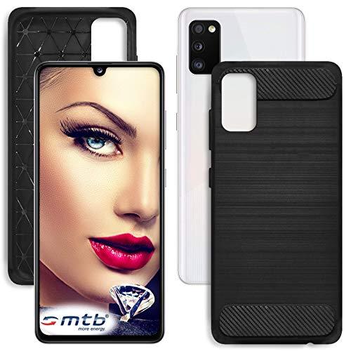 mtb more energy® Hülle Carbon für Samsung Galaxy A41 (SM-A415, 6.1'') - Schwarz - flexibel - TPU Case Cover Tasche Schutzhülle