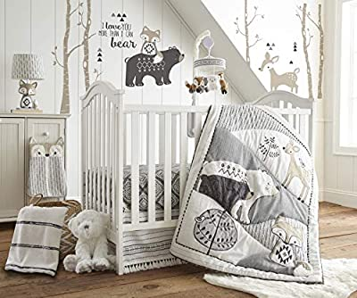 Levtex Baby Bailey Charcoal and White Woodland Themed crib set and accessories