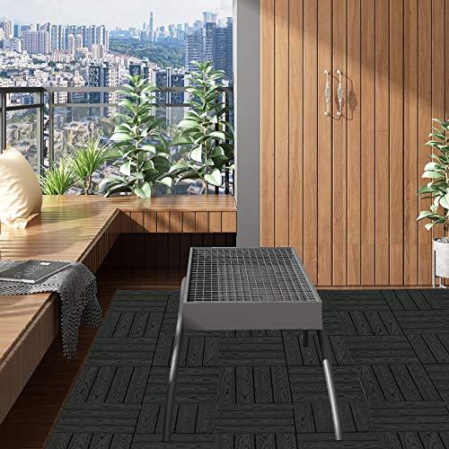 EUGAD WPC Premium Terrassenfliesen Bodenfliese Klickfliese Holzoptik, Terrassendielen Fliese Bodenbelag mit klicksystem, 22 Stück 30x30 cm = je 2 m² Anthrazit - 6