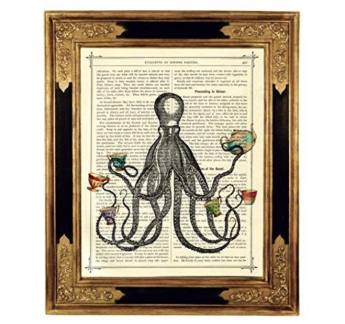 Kraken Oktopus Teeparty Teetassen Kunstdruck auf viktorianischer Buchseite Küche Deko Geschenk Bild Poster Steampunk ungerahmt
