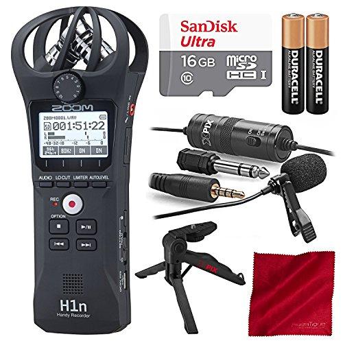 Zoom/Photo Savings Gravador Digital Portátil Zoom H1N E Pacote De Acessórios De Luxo De 16 Gb Com Microfone De Lapela Xpix Pro + Tripé + Pilhas Aaa + Pano De Fibra Platina