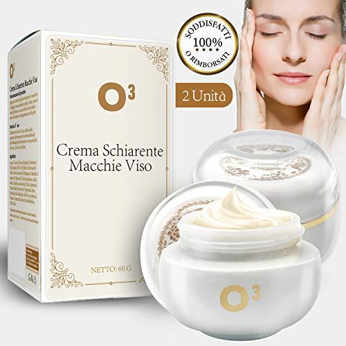 O³ Crema Schiarente Macchie Viso-Crema Sbiancante Viso-Crema Antimacchie Viso-Crema Depigmentante-2 Crema per Viso Macchie Cure (2 Unita da Crema)