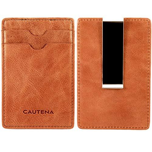 CAUTENA Premium Echtleder Karten-Etui mit Geldklammer | Kreditkarten-Etui Portemonnaie mit Geldscheinklammer und RFID Schutz | edel und modern (Cognac-braun)