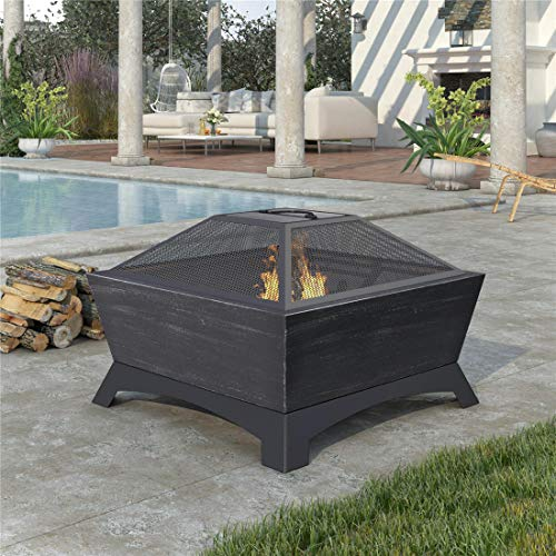 NICESOUL 25.9''x 25.9'' Steel Fire Pit with Log Poker, Mesh Screen for Outdoor Living, Family Use Dark Gray (Dark Gray)