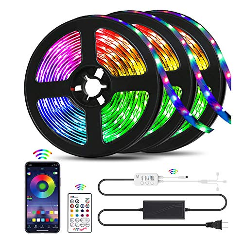 QZYL Led Lights for Bedroom,49.2 Feet Led Strip Lights,Music Sync Color Changing Flexible Rope Lights with Remote App Control Luces Led Strips Lights for Party Home Decoration……