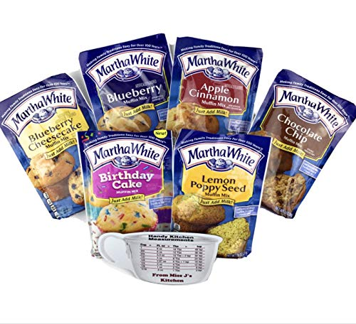Martha White Muffin Mix Variety Pack of 6 Flavors - Blueberry, Birthday Cake, Lemon Poppy Seed, Chocolate Chip, Apple Cinnamon, Blueberry Cheesecake (1 of Each) with Miss J's Handy Kitchen Measurements Chart - Bundle of 7!