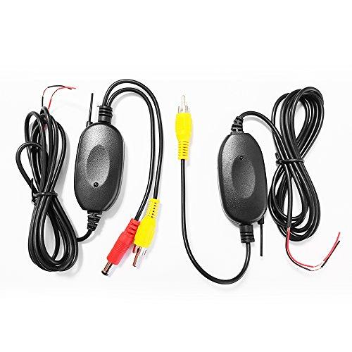 XOMAX XM-KL001 Kabellos Adapter für Rückfahrkamera / Einparkhilfe + Funk Transmitter Set + kabellose Videoübertragung + einfacher Anschluss über Cinch Anschlüsse + 12V Anschluss + Empfänger & Sender im Set