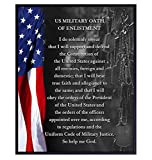 American Flag Wall Art - Military Oath of Enlistment - Patriotic Home Decor - Gift for Soldiers, Veterans Day, Vets, USMC, USAF, Army, Navy, Air Force, Marines, Coast Guard, Men, Women - Poster Print