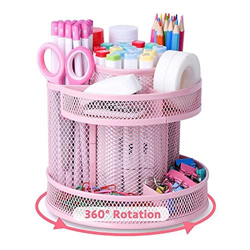 POPRUN Enfants Organiseur de bureau rotatif en métal grillagé,Pot a Crayon, Range Stylo Bureau,Rangement Métallique Bureau Rose