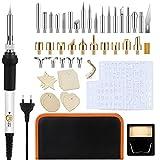 Queenromen 52 Pezzi Kit Pirografia Legno Saldatore, 60W Temperatura Regolabile Penna Pirografia Pirografo Legno Accessori, Professionale Set di Strumenti Incisore Legno per Fai da Te Cuoio Lavori