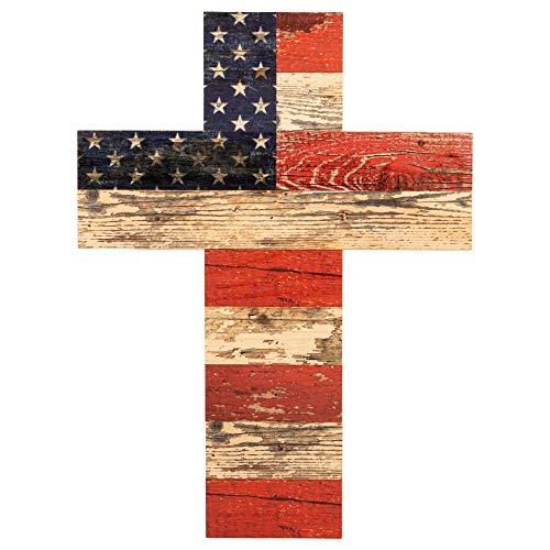 Patriotische amerikanische Flagge rot weiß und blau Krakelee Design 14x 10Holz Art Wand Kreuz