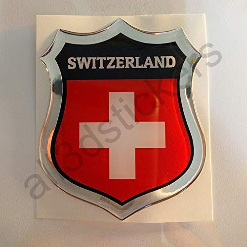 All3DStickers Aufkleber Schweiz Kfz-Aufkleber Schweiz Emblem Gedomt Flagge 3D Fahne