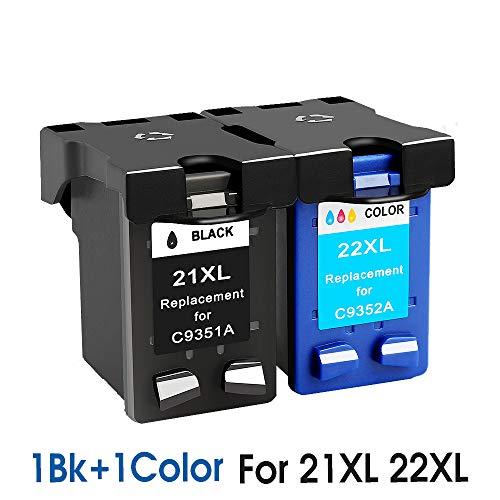 Cartucho de tinta de repuesto para HP 21 HP21 para HP 21xl Deskjet F380 F2180 F2280 F4180 F4100 F2100 F2200 F300 (1bk+1color para 21XL&22XL)