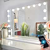 Bobening Vanity Mirror for Makeup Bluetooth, Extra Large Hollywood Lighted Mirror with 18 Dimming LED Bulbs Smart, Tabletop/Hanging Cosmetic Mirror with Touch Screen & USB Charging Port & Speaker