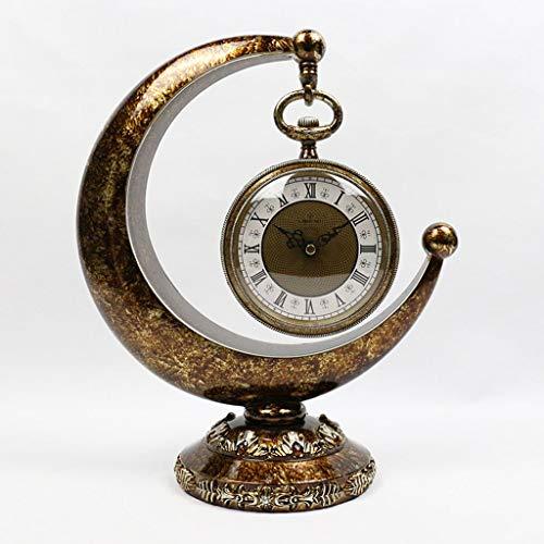 xuejuanshop Reloj de Escritorio Clásico Retro Reloj Europeo Sala de Estar Art Mesa de TV Cabinete de Vino Reloj de Escritorio Reloj de Estante (Color : B)