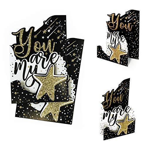 2 szt. kartka pocztowa You are My Star ze złotym brokatem | karta podarunkowa, kartka z podziękowaniami | bon upominkowy lub kartka z życzeniami na wiele okazji, efekt 3D, X037