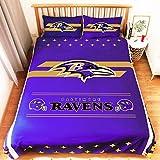 MAYMEET Ravens Football Team 3pcs Queen Size Sheets Bedding Set,1 Duvet Quilt Cover and 2 Pillowcases