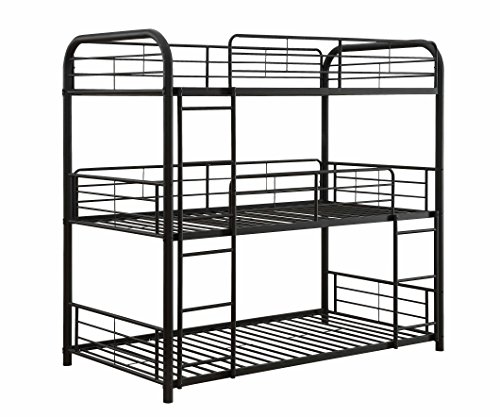 ACME Furniture 37335 Cairo Triple Bunk Bed, Twin, Sandy Black