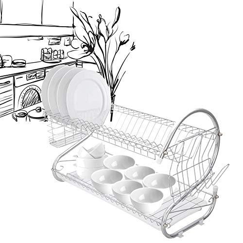 Logo Aufbewahren ständer Dish Wschetrockner Tier Abtropfbrett Up Dish Trocknung Wäschetrockner Der Sink Mehrzweckträger aus Edelstahl FYRANG (Color : Silver, Size : 21.7x14.6x9.8inch)