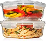 Exelcius® - Set of 2 Square Glass Food Storage Containers with Airtight Locking