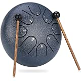 LENSUN Tongue Drum 6 Inches 8 Notes/10 Inches 11 Notes Chakra Tank Drum Hand Pan Drum Percussion Instrument with Drum Mallets and Travel Bag (6 Inch, Blue)