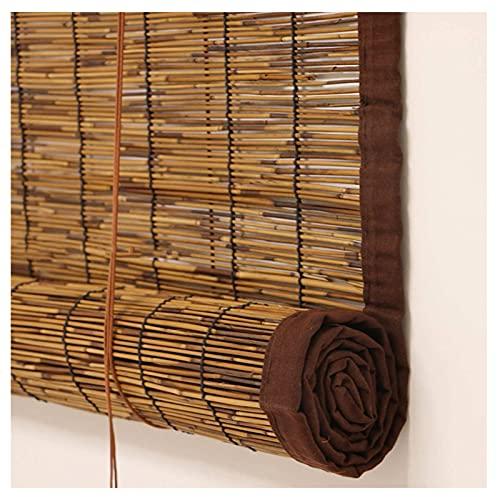 Persianas Enrollables Bambú Natural Persianas Lámina Estilo Romano Protección Aislamiento Térmico Enrollada Verticalmente Protección Privacidad Cortina Filtrante Persianas De Bambú Deco(Size:1.2x2.5m)