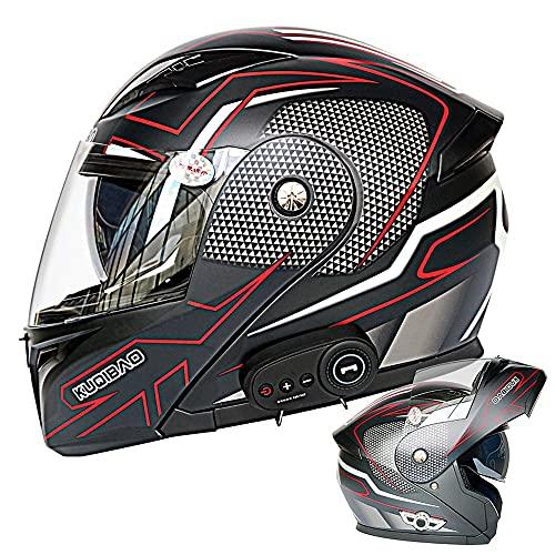 BDTOT Motorcycle Bluetooth Helmets Anti-Fog Double Visor Full Face Flip Up...