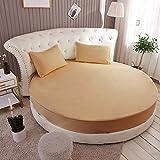 HPPSLT Protector de colchón, con Aloe Vera, (Todas Las Medidas) Cama Redonda de algodón para Hotel-Camel_2.2m
