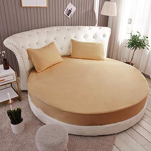 HPPSLT Protector de colchón Acolchado - Microfibra - Transpirable Colchón de Cama Redondo de una Sola Pieza Full Round-Camel_1.5m