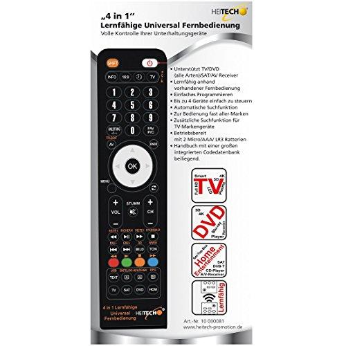 HEITECH Universal Fernbedienung für 4 Geräte - 4in1 lernfähige Unversalfernbedienung für Smart TV, DVD, SAT, AV Receiver UVM - Multifunktionsfernbedienung mit Lernfunktion & für alle Marken