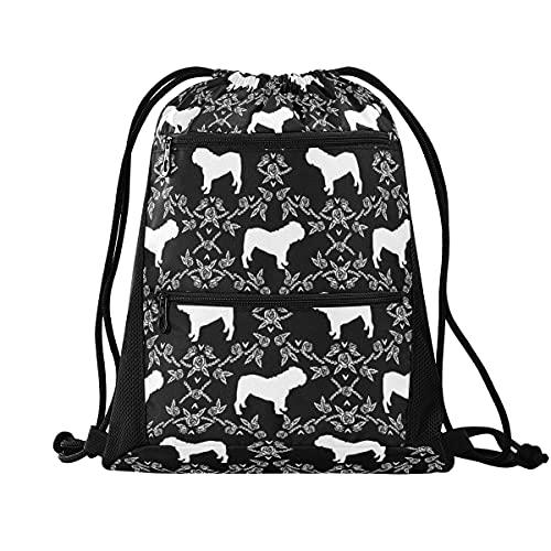 Mochila con cordón para gimnasio, ligera, mochila para escuela, viajes, compras, deporte, English Bulldog Silhouette Florals Black and White 7, Large