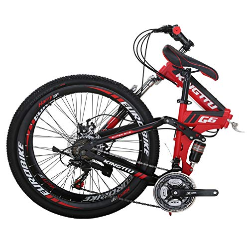 Dual Suspension Folding Mountain Bike 26 Inches Wire Spoke Wheel Folding Bike 21 Speed G6 MTB Red/