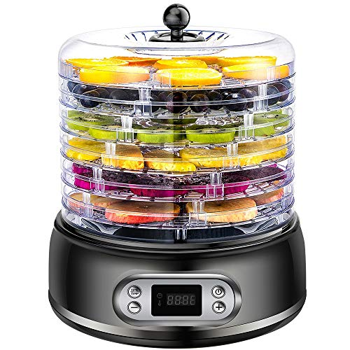 Anbull Deshidratador de Alimentos 250W, Deshidratadora de Frutas y Verduras 8 Temperatura Ajustable de 35-70 Grados, Temporizador de 72 Horas, Desidratadoras de Fruta con 5 Cestas Ajustables, BPA-Free