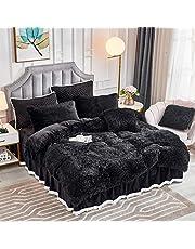 JAUXIO Luxury Long Faux Fur Bedding Set Shaggy Comforter Duvet Cover with Pillow Sham Ultra Soft Crystal Velvet Reverse