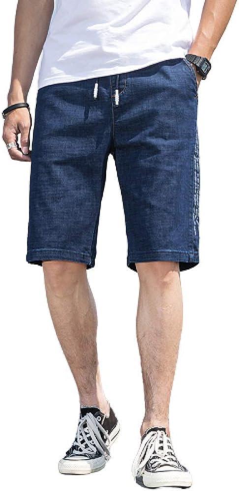 nobranded Men's Jeans Plus Size Denim Shorts Loose Straight Tube Summer Thin Elasticated