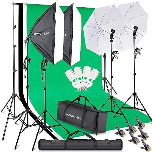 FOSITAN 2.8M x 3M 9.2ft x 9.8ft Photo Backdrop Stand kit Photography Softbox Lighting Kit Photo Lighting Studio kit Background Support System 800W 5500K Umbrella with 2M Stand for Photo Video Shooting