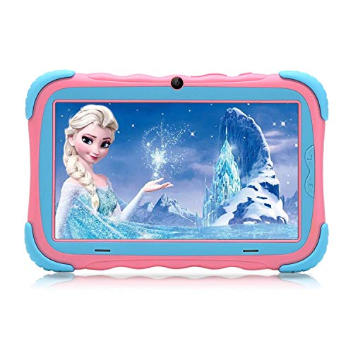 Kids Tablet - Android 9.0 Tablet PC with 7 inch IPS Eye Protection Screen 16GB WiFi Camera Bluetooth and Kids-Proof Children Tablets (Pink)