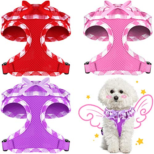 Weewooday 3 Pieces Checkered Frills Dog Vest Soft Mesh Breathable Puppy Padded Vest Lightweight Adjustable Dog Harness Set Suitable for Chest 12 to 18 Inch, Neck 9.8 Inch