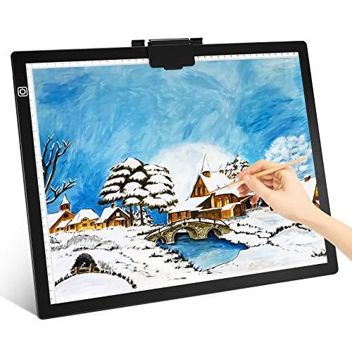 A3 Mesa de Luz para, Fulluky LED Tableta Mesas de luz para calcar ultrafino Arte Tablero para Dibujar y Copiar con clip magnético LED Caja de Luz Portátil para diseño para Artistas, Dibujo, Animación