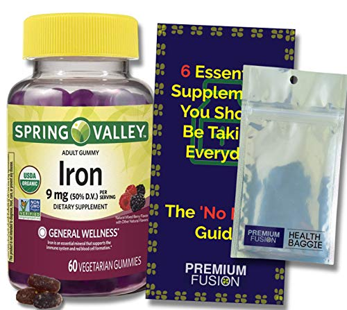 Iron Gummies for Adults 9mg Organic Vegetarian Gummies, 60ct. + a Vitamin Pouch and Guide to Supplements