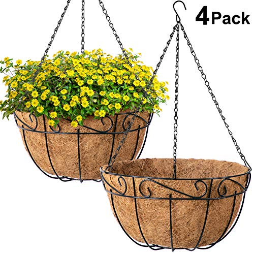 Amagabeli 4 Pack Metal Hanging Planter Basket with Coco Coir Liner 12 Inch Round Wire Plant Holder with Chain Porch Decor Flower Pots Hanger Garden Decoration Indoor Outdoor Watering Hanging Baskets